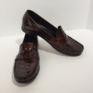 Cole Haan brown patent leopard print loafers, 8.5